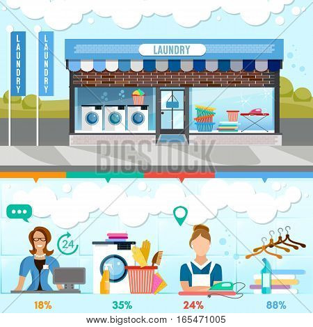 Laundry service infographic interior. Laundry staff washing machine clothes laundry room with facilities for washing