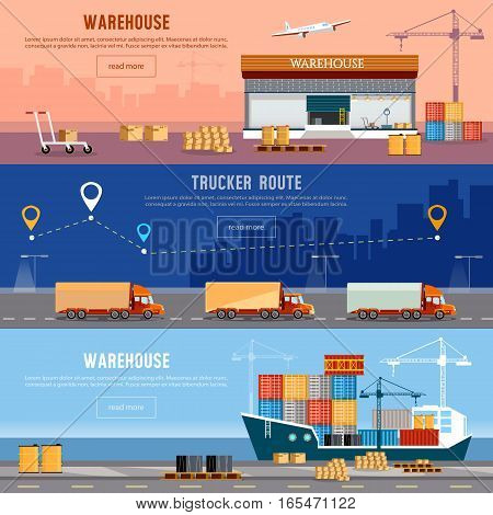Global logistics. Cargo transportation freighter industrial sea port. Shipment and unloading. Delivery and shipment air cargo trucking maritime warehouse