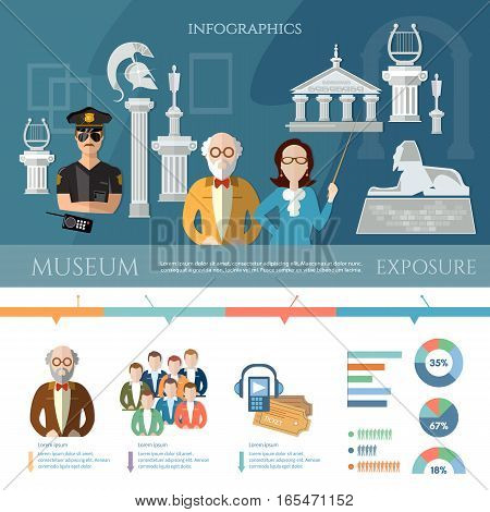Museum infographics history and culture of civilization. Studying of ancient history guide and visitors of museum