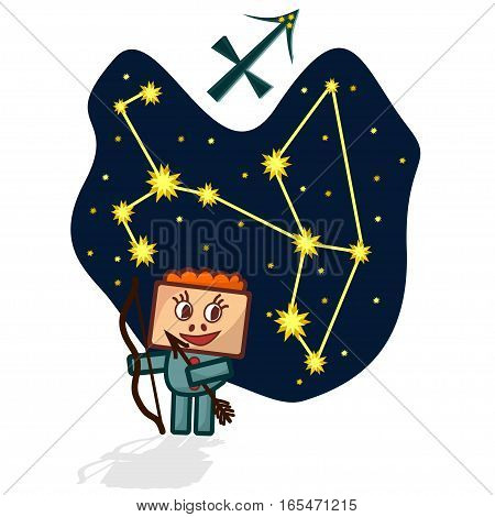 Cartoon Zodiac signs. Vector illustration of the Sagittarius with a rectangular face. A schematic arrangement of stars in the constellation Sagittarius