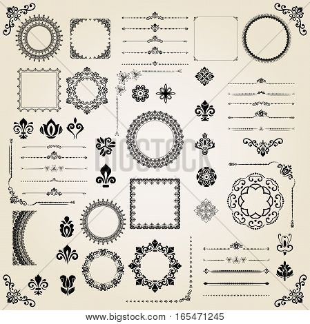 Vintage set of classic elements. Different vector elements for decoration and design frames, cards, menus, backgrounds and monograms. Classic patterns. Set of vintage patterns