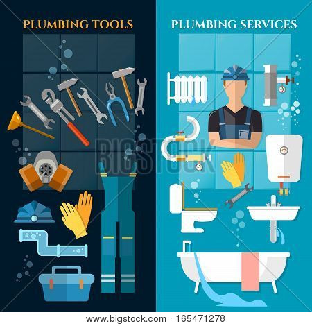 Plumbing service banner. Plumber different tools and accessories pipe repair elimination of leaks