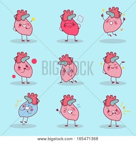 cute cartoon heart is do different emotion