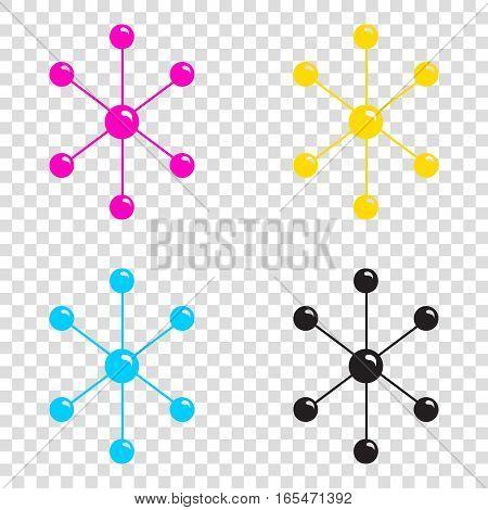 Molecule Sign Illustration. Cmyk Icons On Transparent Background