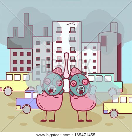 two cartoon lung wear gas mask in front of the factory