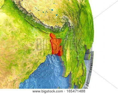 Bangladesh In Red On Earth