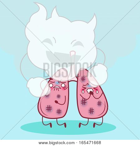 cartoon lung feel pain and uncomfortable with smoke