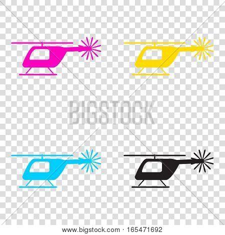 Helicopter Sign Illustration. Cmyk Icons On Transparent Backgrou