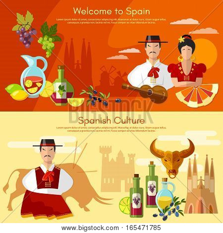Welcome to Spain banner. Taditions and culture spanish attractions people famenco matador bullfight
