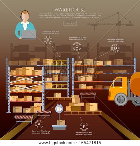 Logistic and delivery service infographic. Warehouse interior box on rack and warehouse building
