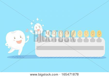cute cartoon tooth high five with tooth color palette