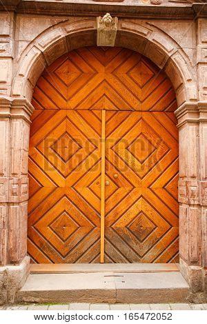 Vintage door in old town Gamla Stan Stockholm Sweden.