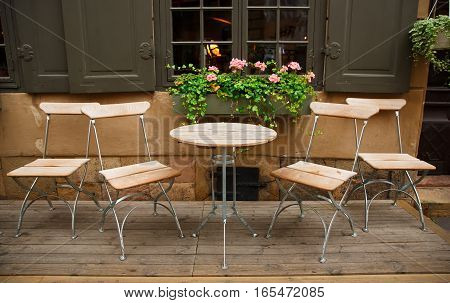 Outdoor cafe in Gamla Stan Stockholm, horizontal picture.