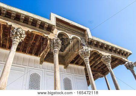 Ornament And Carving Details Of Wooden Part Of Mosque In The Ark, Bukhara Fortress Uzbekistan