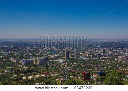 Almaty City View From Koktobe Hill And Cabin Of Cable Car, Kazakhstan