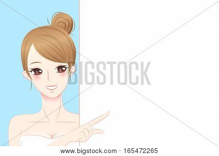 cartoon beauty skin care woman hold billboard