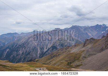 Panoramic view from Talgar Pass in Tien Shan mountains Almaty Kazakhstan 2016