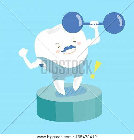 cute happy cartoon teeth is in fitness