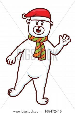 Christmas Polar Bear Cartoon Isolated on White