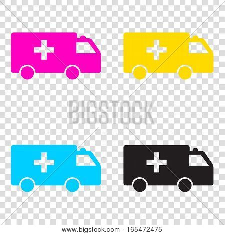 Ambulance Sign Illustration. Cmyk Icons On Transparent Backgroun
