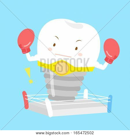 cute cartoon tooth with boxing for your concept