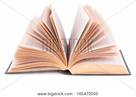 Opened book isolated on a white background.