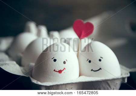 Love Eggs Couple With Heart In The Box