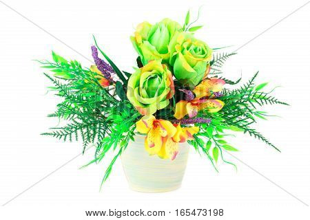 Colorful fabric flowers in vase isolated on white background.