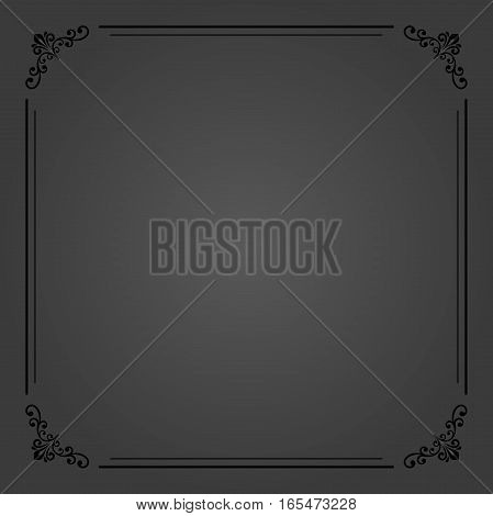 Classic vector dark square frame with arabesques and orient elements. Abstract ornament with place for text. Vintage pattern