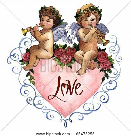 Happy Valentines Day love celebration in a watercolor style with cupids isolated.