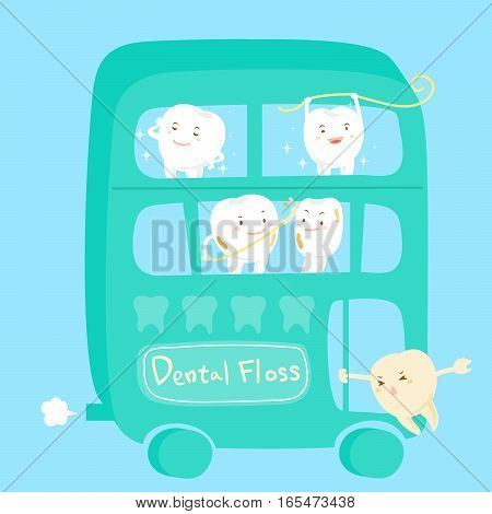 cute cartoon different tooth with dental floss