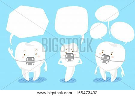 cartoon brace tooth talk with speech bubble