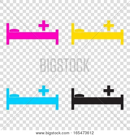 Hospital Sign Illustration. Cmyk Icons On Transparent Background