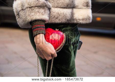 MILAN ITALY - JANUARY 15: Detail of bag outside Ferragamo fashion show building during Milan Men's Fashion Week on JANUARY 15 2017 in Milan.