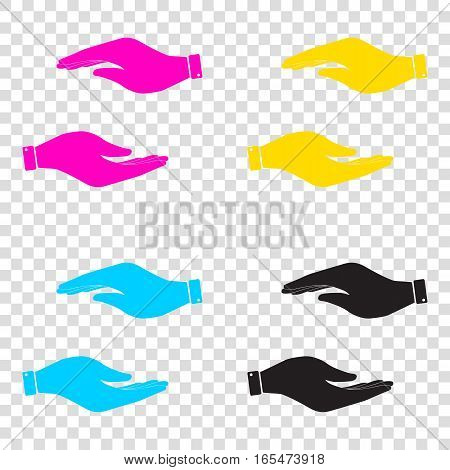 Hand Sign Illustration. Cmyk Icons On Transparent Background. Cy