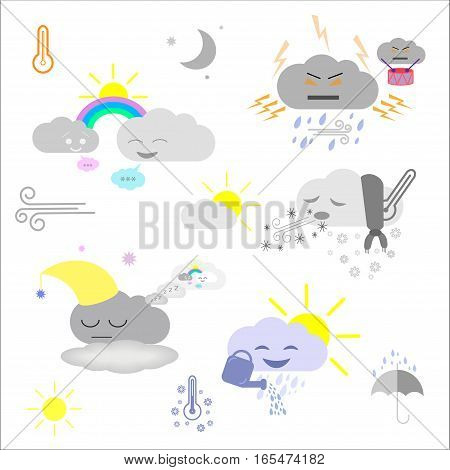 Cute weather and sky elements: moon sun rain and clouds vector illustration for kids isolated design elements for children. Stickers labels icons infographics for kids