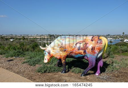 NEWPORT BEACH CALIFORNIA - JANUARY 16 2017: Cows4Camp Sculpture. Created by the California Milk Processor Board they are designed to raise funds for Camp Ronald McDonald.