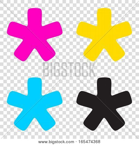 Asterisk Star Sign. Cmyk Icons On Transparent Background. Cyan,