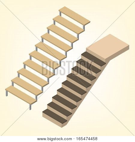 Flight of stairs isolated on white background. Element of design the interior and architecture. Flat 3D isometric style vector illustration.