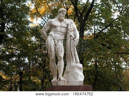Saint-Petersburg, Russia - September 30, 2016: Hercules mythical Greek hero - a sculpture in the Alexander Park n the September 30, 2016 in St. Petersburg, Russia.