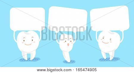 cute cartoon tooth smile happily and take billboard