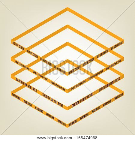 Warning tape for fencing with text do not cross warning caution. Isolated on white background. Design elements for reconstruction. Flat 3D isometric style vector illustration.