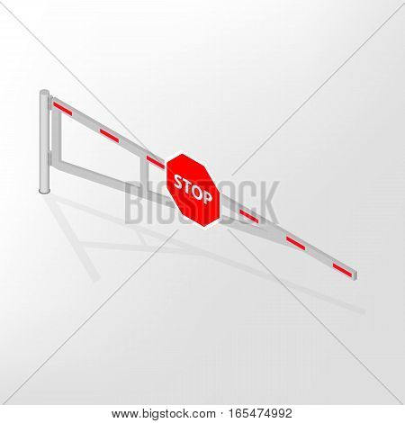 Mechanical barrier isolated with road sign stop on white background. Crossbar for opening and closing the way at level crossings. Flat 3D isometric style vector illustration.