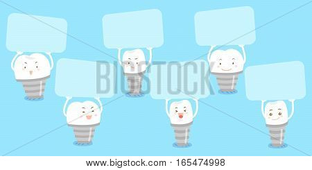 cute cartoon implant tooth take billboard and smile happily
