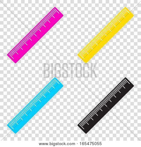 Centimeter Ruler Sign. Cmyk Icons On Transparent Background. Cya