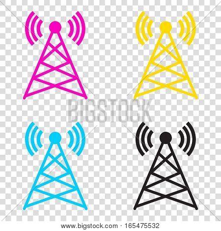 Antenna Sign Illustration. Cmyk Icons On Transparent Background.