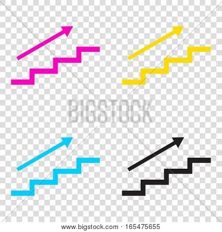 Stair With Arrow. Cmyk Icons On Transparent Background. Cyan, Ma