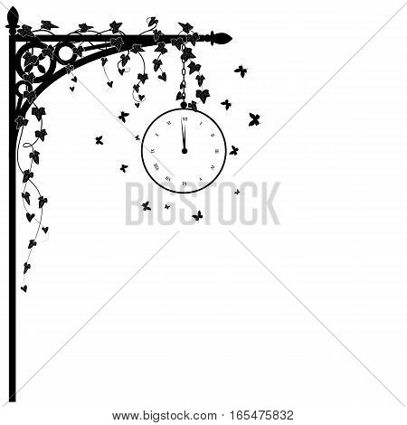 vector illustration for corner design with clock ivy and butterflies in white and black colors
