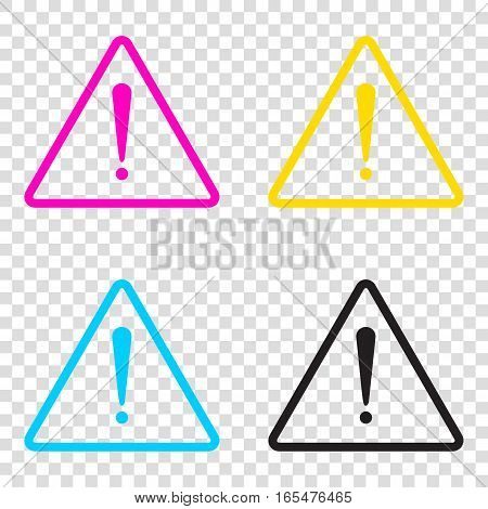 Exclamation Danger Sign. Flat Style. Cmyk Icons On Transparent B