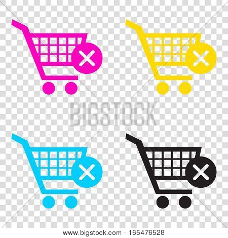 Shopping Cart With Delete Sign. Cmyk Icons On Transparent Backgr